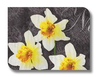 Floral paper napkin serviette for decoupage x 1.Narcissus . No 1025