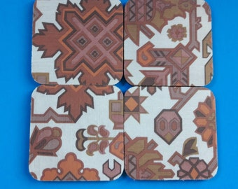 Handmade Set Of Four Rubber Drink Coasters, Drink Coaster Set, 1970s Design Coasters, Retro Patterned Coasters, Made By Mod.