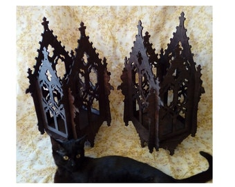 Huge Gothic tealight lamp, openwork lantern, like medieval cathedral