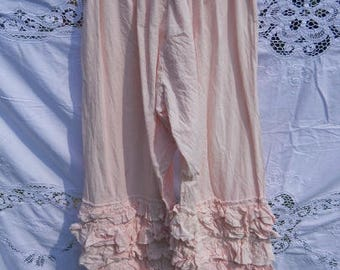 Peony Pink Cotton OSFA plus regular pants trousers bloomers pantaloons lagenlook layerlook pirate boho festival RitaNoTiara Southern Gothic