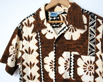 Vintage Shirt Men's Hawaiian Surf Aloha Summer Shirt Men's Resort Wear Brown Tropical Top Tiki Beach Wear Size Medium
