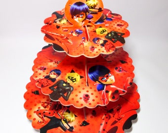 Lady Bug cupcake stand, Lady Bug muffin stand, Stand for cupcakes 3-tier