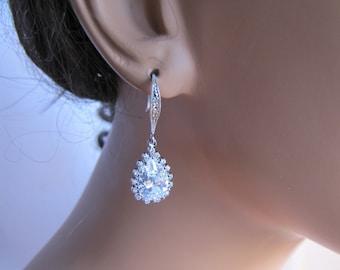 Bridal drop earrings, radiant jewel drop cubic zirconia on a simple tie sterling silver plated hooks - BE108