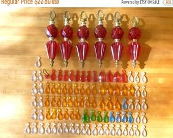 Sale - Set of 99 Vintage 1970's Plastic & Metal Light Fixture Parts and Teardrop Baubles Retro Found Object Art Parts