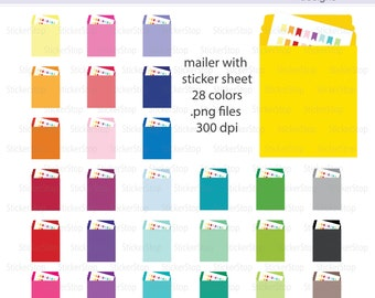 Mailer with Sticker Sheet Icon Digital Clipart in Rainbow Colors - Instant download PNG files