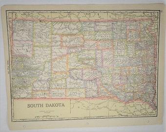 1933 VintageSouth Dakota Map