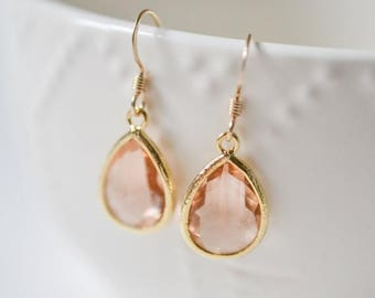 ON SALE Bridesmaid Jewelry Set of 6 Peach Champagne Teardrop Earrings in Gold