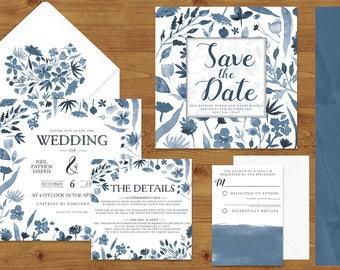 Dusky Blue Watercolour Flower Wedding Invitations Stationery Set - Printed or Digital Download - Blue Wedding - Wedding Printable
