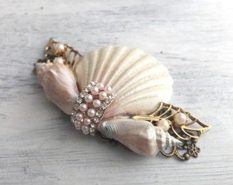Beach Wedding No.15 - Shimmering Pearl Seashell and Vintage Jewel Assemblage Bridal Hair Comb, Coastal Wedding