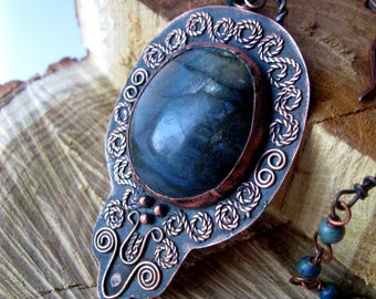 Unique Copper Pendant with Labradorite. Copper necklace . Labradorite Jewelry