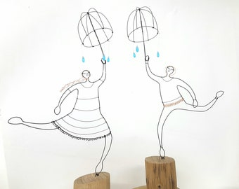 Umbrella sculpture - Wire Sculpture - Wire people - Quirky Sculpture - Wedding Gift - wire home decor - Made to order - umbrella gift -