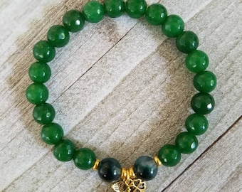 Luck O' the Irish Bracelet + Jade + Four Leaf Clover Charm + Stackable Bracelet + Spiritual Jewelry