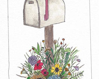 Original Pen and Ink with Watercolor Painting - Mailbox and Colorful Flowers