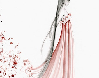 Original Fine Art Print (Fashion Illustration Print) Gift for Her