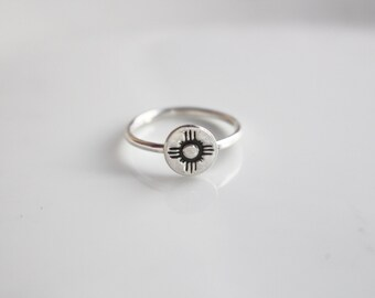 Zia Symbol Ring / Made to Order Ring in Sterling Silver / State of New Mexico Symbol Ring / Zia Symbol Simple Silver Ring / Dainty Ring