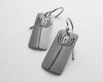 On Sale Silver Dandelion Earrings sterling rectangles queen annes lace artisan handmade  (E11)