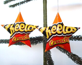 Crunchy Cheetos Recycled Aluminum Stars - Handmade Christmas Ornaments or Gift Toppers - Pop Culture Junk Food Decor