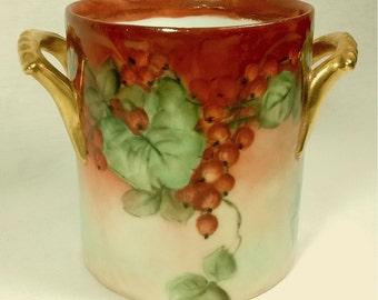 Hand Painted Art Nouveau Red Currant Berries Gilded Handles Artist Signed Alice Hyatt Porcelain Cachepot Vase Planter
