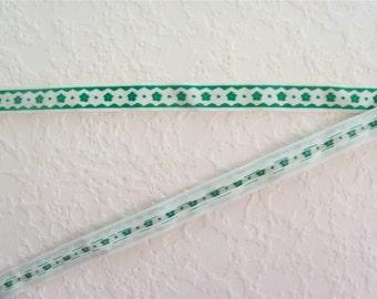 Vintage 60s Green Flower Double Fold Tape