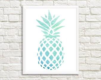Aqua Watercolor Pineapple Digital Print 8 x 10