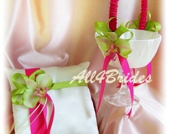 Hot pink and green orchids ring pillow and flower girl basket, weddings ring cushion and basket set