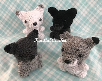 Crochet Small Wolf Zoo Forest Animal Cute Amigurumi Plush Made To Order