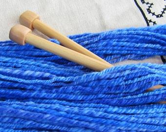 Blue Skied An' Clear RockStar Handspun Yarn - 100 yds - Faux Cashmere [nylon] in deep blues - VEGAN