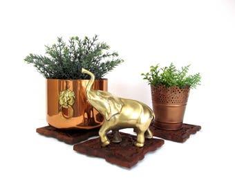 Vintage Brass Elephant Figurine, Trunk Pointing Up