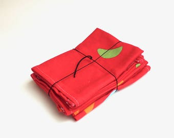 Bright Color Drop Cloth Napkins. Recycled Fabric.  Set of 6.