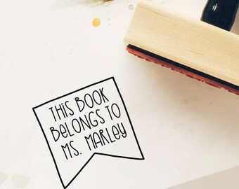 Custom Library Stamp, From the Library Of, This Book Belongs To, Ex Libris, Teacher Stamp, Bookplate, Bookish Stamp, Bookworm Gift, 9B