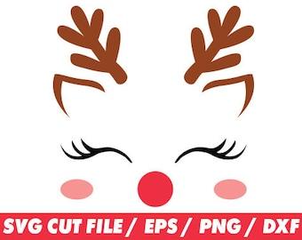 Reindeer svg, Reindeer face, Reindeer face svg, Reindeer cricut, Christmas svg, Christmas cricut, Deer svg, Santa svg, Cute svg