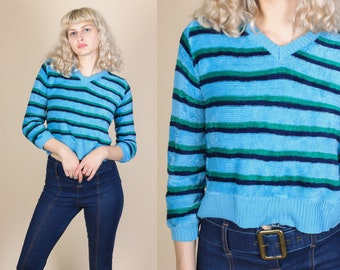 80s Velour Striped Shirt - Medium // 80s Cropped Slouchy Sweater Top