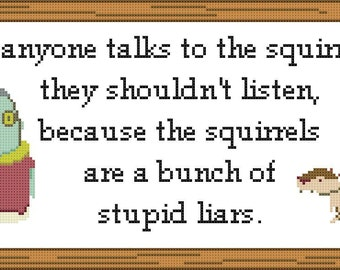 Psychonauts Dogan Hates Squirrels Cross Stitch Pattern