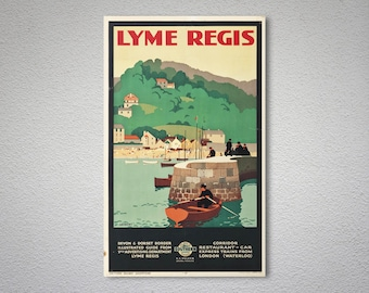 Lyme Regis Vintage Travel Poster - Poster Print, Sticker or Canvas Print / Gift Idea