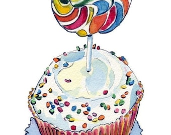 Cupcake Illustration Watercolor - Rainbow Lollipop Cupcake Watercolor Art Print, 8x10