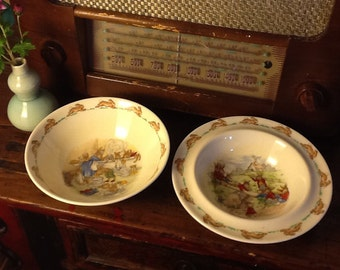 Two Royal Doulton Bunnykins Children's Bowls Bath-time and School Playground