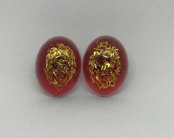 Red/Gold Specks Studs