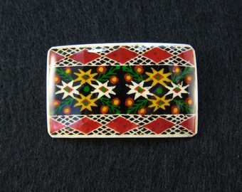 Lapel Pin - PINE STARS - Handmade - Traditional Ukrainian Pysanky Design - ostrich egg shell jewelry