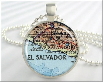 San Salvador Map Pendant, El Salvador Necklace, Resin Picture Jewelry, Map Necklace, Gift Under 20, Round Silver 688RS