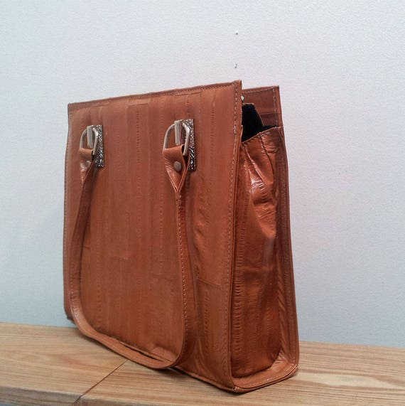 Vintage Style Genuine Tan Eel Leather Handbag