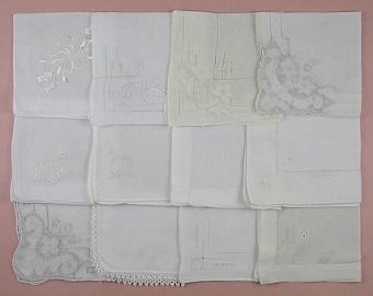 Vintage Hanky Lot,Wedding Hanky Lot,One Dozen White Wedding Vintage Hankies Handkerchiefs  (Lot #97)