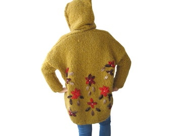 Wool Cardigan, Plus Size Cardigan, Chunky Wool Cardigan, Hooded Coat Cardigan, Hand Knitted Embriodered Overcoat, Oversized, Mustard