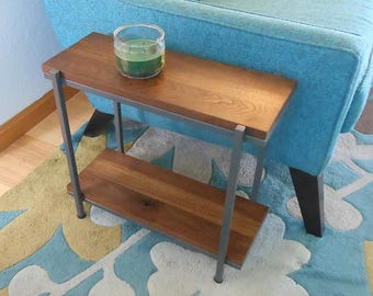 Walnut End Table Two Tier Bedside Side Table - Night Stand - Plant Stand