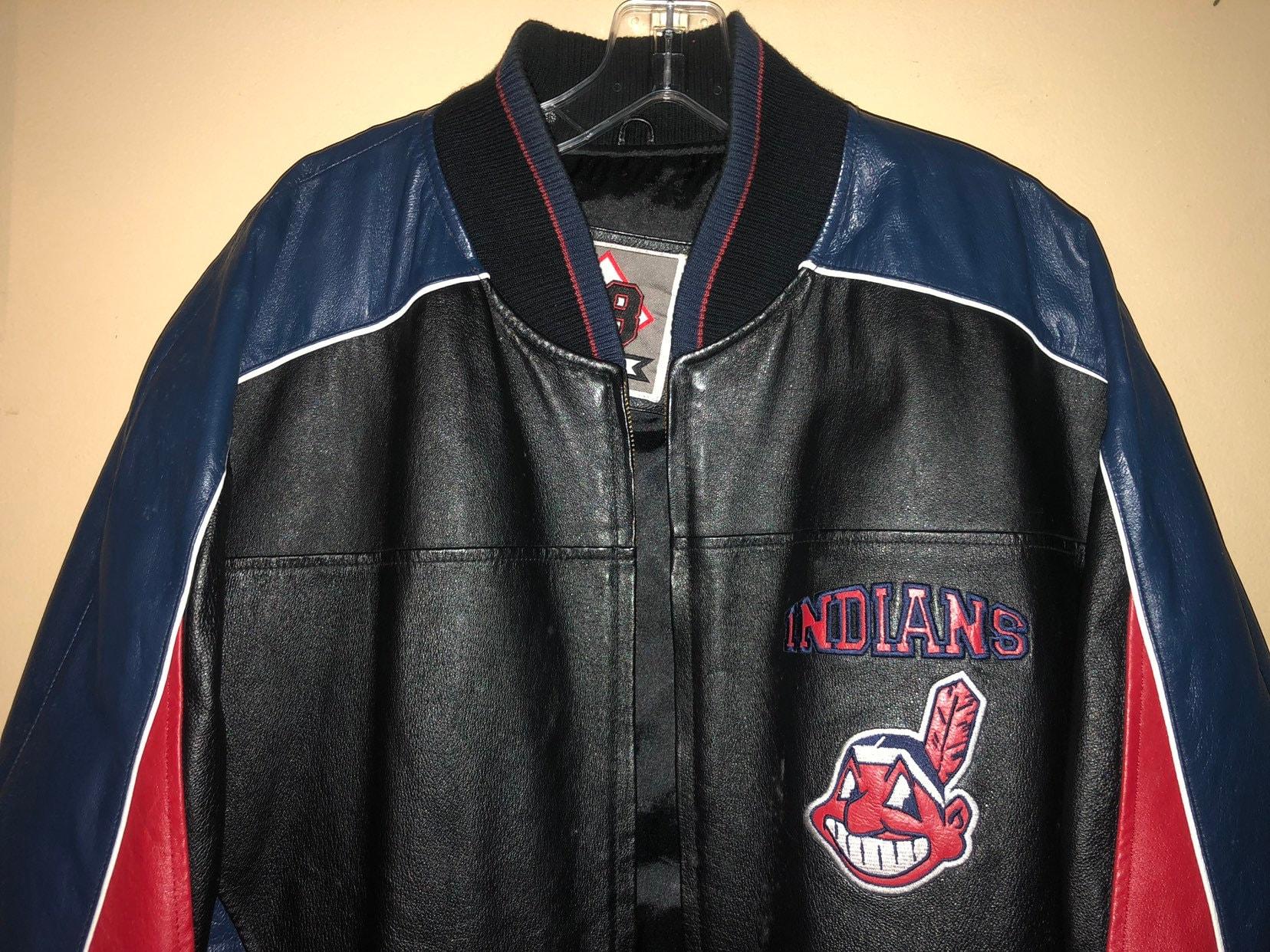 BONUS gratuit de navire de en cuir Cleveland indians de navire la tête de  s vintage baseball veste taille grand 4e153e