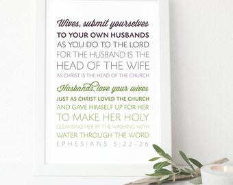 Ephesians 5:22-26 - INSTANT DOWNLOAD - Scripture Digital File - Bible Verse Art - Printable Bible Verse - Scripture Typography