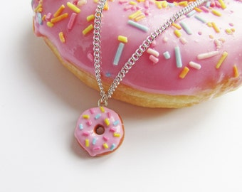 Donut necklace, doughnut necklace, polymer clay donut, miniature food, donut charm, Christmas gift, stocking filler,
