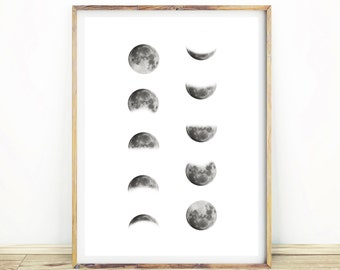 Moon Phase Wall Art, Moon Print, Black and White Moon Decor, Gift for Him, Moon Phases, Large Printable Poster, Instant Download, #527