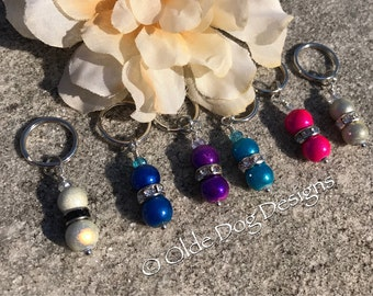 Holographic/Irridescent colorful beaded bridle charm