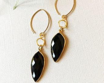 Modern Earrings/ Black Onyx Drop
