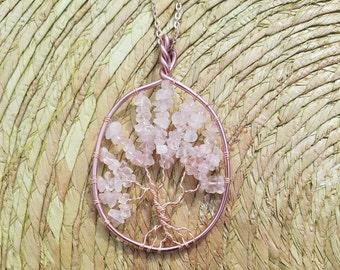 Handmade Rose Gold Rose Quartz Tree of Life Pendant Necklace